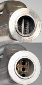 El refrigerador de EGR de diesel a prueba de balas es el de la izquierda, el enfriador de la fábrica está a la derecha. La diferencia puede ser visto como a la calidad del enfriador EGR recambio.